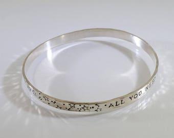 Faith Trust Pixie Dust Sterling Silver Bangle