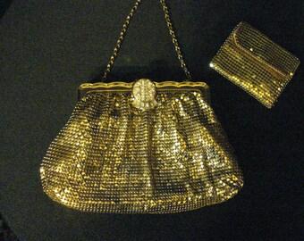 Mesh Whiting & Davis CO Bags Gold Vintage Clutch Evening Bag Matching Change Purse Gold Mesh