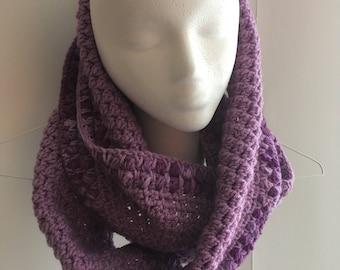 Crochet Scarf, Purple Infinity Scarf