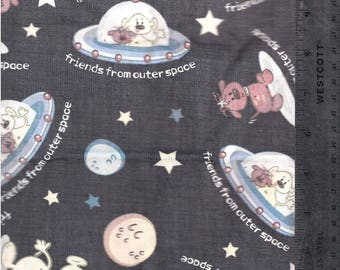 Outerspace Spaceship Martian Dog fabric yardage
