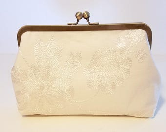 Ivory Floral Embroidered Bridal Clutch | Ivory Linen Bridal Purse | Handmade Ivory Lace Bridesmaid Clutch | Wedding Clutch | 8 inch Clasp
