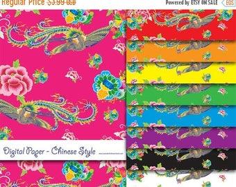 50% OFF Printable Digital Paper JPG & PDF File - Chinese Style Peony Phoenix