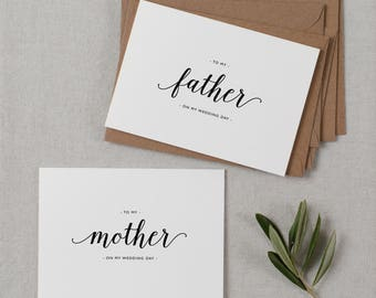 Wedding Card To My Mother + Father Wedding Day, To My Parents Wedding Card, To My Mom, To My Dad, Parents Wedding Thank You Card 2 Cards, K3