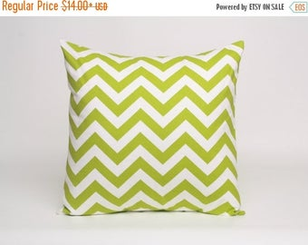 On Sale July Only Chartreuse Green and White Chevron Pillow Cover Designed to Fit 14, 16, 18, 20 or 22 Inch Standard Pillow Inserts in Premi