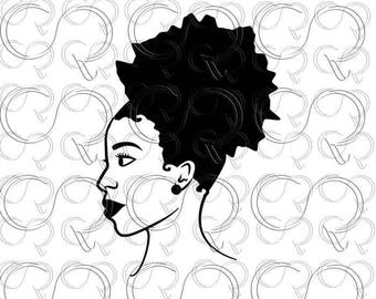 Black woman SVG Afro Puff SVG Afro clip art Afro cut design Afro cut file Black woman profile Black woman silhouette side view afro