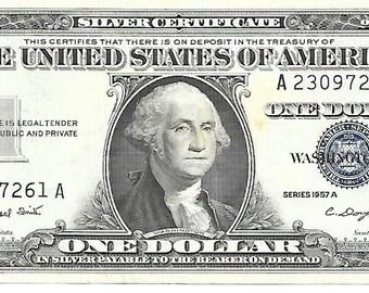 1957 A Silver Certificate 1 Dollar Bill A23097261A Crisp