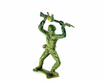 Vintage Tim-Mee Plastic Toy Soldier Action Figure with Machine Gun | Vintage Toys