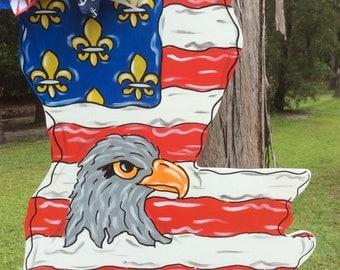 Patriotic, July 4th, American flag, Louisiana shape, NOLA, New Orleans, eagle, door hanger
