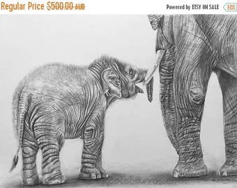 "20% off Baby Elephant, Original Pencil Drawing, Animal Art, Home Decor 22""x 15.5"" Asian Elephants Art,  Elephant Drawing, Mother and Child"