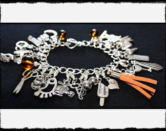 Orange Charm Bracelet with Flogger / Whip Charm // Fifty Shades of Grey Inspired // BDSM Gift // Cincuenta Sombras // Fifty Shades Gifts