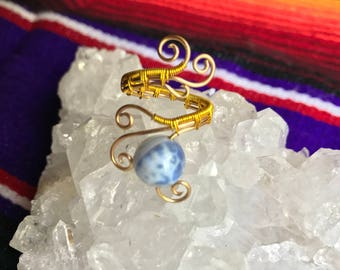Blue Fire Agate Ring in Gold