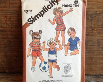 1983 Vintage Simplicity Pattern. Pattern #5953. Toddler Size 1. Girl and Boy. Shorts and Pull-over Tops. Vintage Toddler Pattern. Vintage.