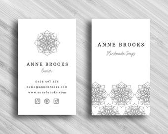 Black and White Mandala - Custom Business Card - Add your own Logo - Branding