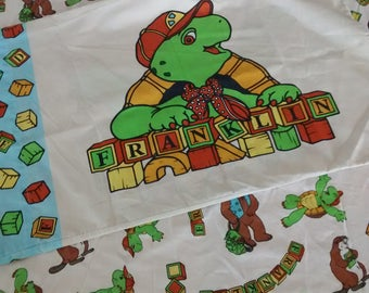 Vintage Franklin The Turtle Bed Sheet Pillow Case Bedding Fitted