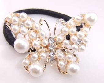 Hair band ponytail elastic pearl butterfly