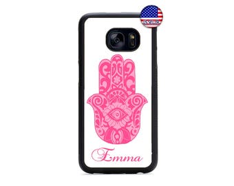 Pink Hamsa Hand Guard Personalized Name Hard Rubber Case Cover For Samsung Galaxy S8 S7 S6 Edge Plus S5 S4 S3 NOTE 5 4 3 2 iPod Touch 4 5 6