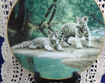 Partners By Charles Frace with COA, White Tiger Plate, Natures Playmate Series, Vintage Tiger Plate, Vintage Plate Charles Frace,Partners
