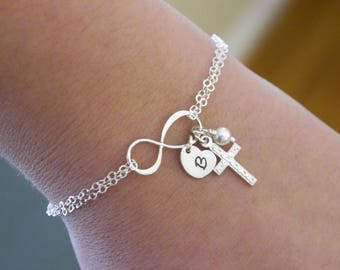 Sterling Silver Cross Infinity Bracelet, Cross Heart Bracelet, Heart Initial Bracelet, First Communion Gift, Confirmation Gift, Personalized