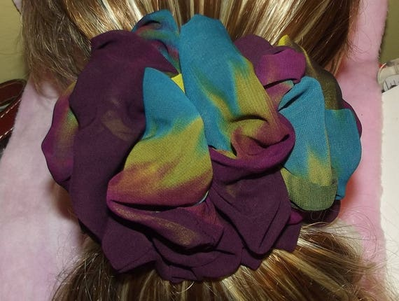 Becky Bows ~OOAK ROSETTE Barrette Hand crafted giant huge Scarf BIG hair bow Women or Girls purple teal green chiffon