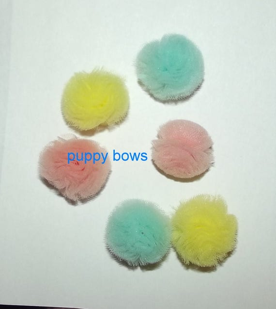 "Puppy Bows ~NEW TINY 1"" disco balls dog grooming bow all colors of tulle pet pom poms"