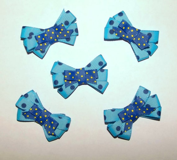 Puppy Bows ~5 blue navy dot for boys EVERYDAY BOWS Yorkie Maltese Shih Tzu ~Usa seller (fb81)