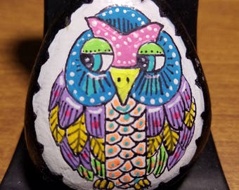 Acrylic hand painted owl Rock by Sal Smith