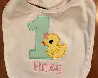Pink and Mint Green Duck Birthday Bib With Name Embroidery