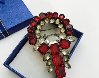 Antique/Vintage Art Deco red & clear rhinestone Brooch
