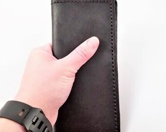 black leather wallet - hand stitched wallet - checkbook holder - women's pocketbook - men's billfold - genuine leather pocketbook - gift