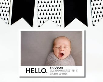Birth Announcement - Simple Birth Announcement - Baby Announcement