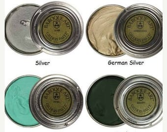 Summer Sale Gilders Paste, Choose Silver, German Silver, Patina, or Verdigris Baroque Art Gilders Paste Wax Polish Patina, For Metal Wood Re