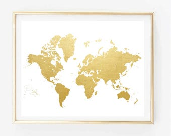 Faux gold map etsy faux gold world map painting art print room decor typographic print drawing wall decor framed quotes gumiabroncs Gallery