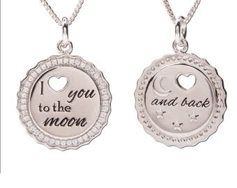Sterling Silver Moon and Back CZ Charm Necklace a Special Gift with Gift Box  (BCN-Moon & Back CZ)