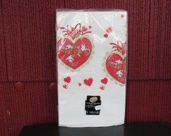 "Vintage 1960s 1970s NOS paper tablecloth cover Valentine's Day Beach white doves red hearts roses 54"" by 96"" (121617)"