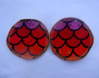 Reusable Breast Pads - Scales Jersey fabric and organic bamboo velour - regular size - washable and reusable