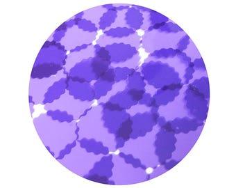 Round Ruffle Edge Vinyl Shape Top Hole 30mm Purple Go Go Transparent