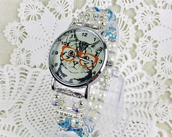 Wrist watch quartz watch bracelet ladies watch beads glass beads cat