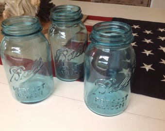 Set of 3 Blue Ball Mason Jars Fruit Canning