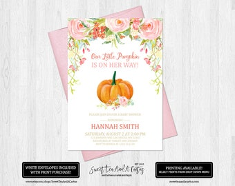 Pumpkin Baby Shower Invitation Pink Fall Floral Girl Autumn Shower Invites Our Little Pumpkin Digital File or Printed Invitations