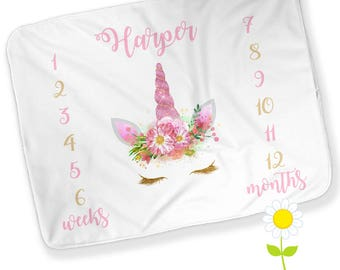 Personalized Monthly Unicorn Baby Blanket - Girl Growth Chart - Week & Month Milestones - Unicorn Face Photo Prop - Watch Me Grow Blanket