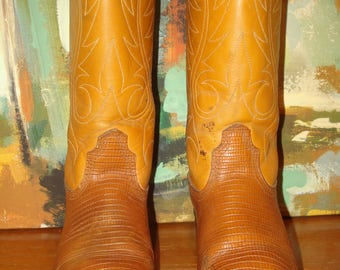 Acme Lizard Grain on Cowhide Cowboy Boots Size 4 B Two Tone Brown