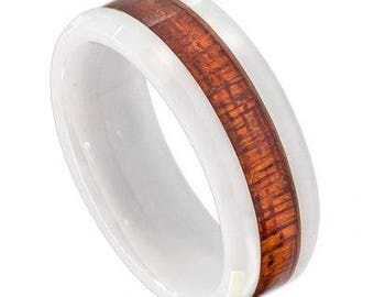 White Ceramic Ring with Hawaiian Koa Wood Inlay; Faceted Edge – 8mm