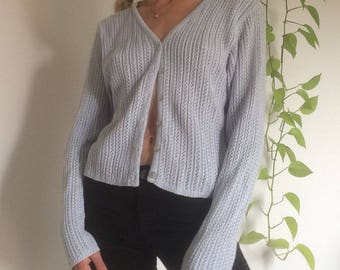Vintage 90s baby blue knit cardigan sweater