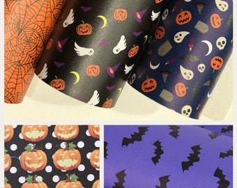 Halloween Print Lestherette Fabric A4 Sheet - 5 Designs to choose from