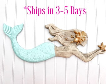 Large Mermaid - Mermaid Sign - Mermaid Decor - Bathroom Decor - Bedroom Decor - Beach Decor - Coastal Decor - Girls Room - Nursery