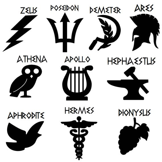 percy jackson cabin name  symbol vinyl stickers