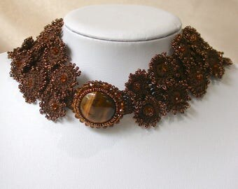 Tiger eye choker necklace set with earrings and ring