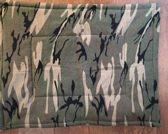 Camo flannel dog crate mat, 18 x 23""