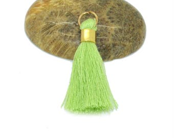 2 mini tassels 30mm Green cotton with rings