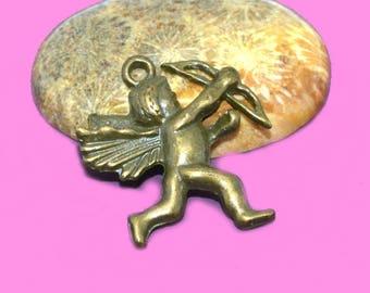 10 charms 28x25mm bronze Cupid Angel